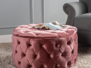 Zelfa round tuffed velvet Ottoman by Christopher knight Retail   163