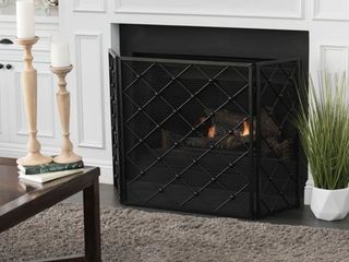 Black Chelsey 3 Panel Fireplace Screen by Christopher Knight Home