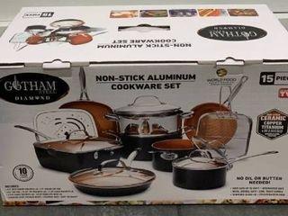 Gotham steel nonstick aluminum cookware set 15 piece Retail   124