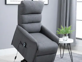 Grey HOMCOM Power lift Assist Recliner Chair for Elderly with Wheels and Remote Control Retail   439