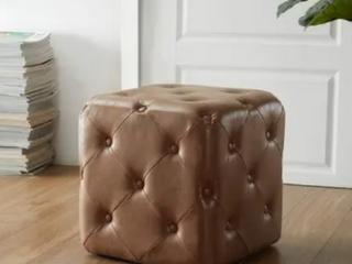 E luxury brown square ottoman   Allover Button Tufting Retail   90