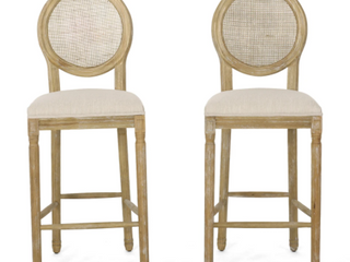 Epworth French country wooden barstools beige natural Rattan Retail   260