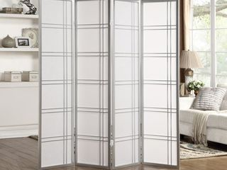 Seto White Wood and Paper 4 panel Room Divider Screen Retail 89 98