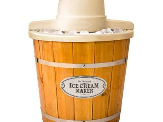 Nostalgia 4 Qt  Electric Ice Cream Maker with Wood Slatted Bucket WICM4l