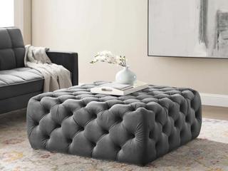 amour button tuffed large square performance ottoman velvet grey Retail   425