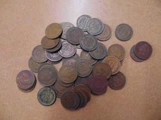 50 Indian Head Pennies   Assorted Dates