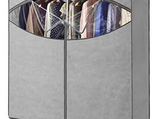 Whitmor Portable Wardrobe Clothes Storage Organizer Closet with Hanging Rack   Extra Wide  Grey Color   No tool Assembly   Extra Strong   Durable   60 W x 19 5 D x 64  l   Not for outside use