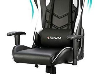 Hbada Gaming Chair Racing Style Ergonomic High Back Computer Chair with Height Adjustment  Headrest and lumbar Support E Sports Swivel Chair  White 1 Year Warranty