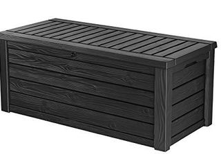Keter Westwood 150 Gallon Resin large Deck Box Organization and Storage for Patio Furniture  Outdoor Cushions  Garden Tools and Pool Toys  Dark Grey