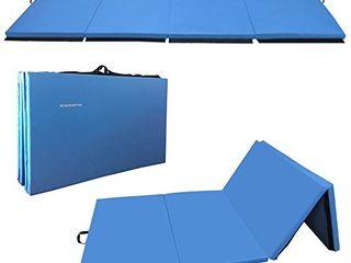 BalanceFrom GoGym All Purpose 4 x10 x2 Extra Thick High Density Anti Tear Gymnastics Gym Folding Exercise Aerobics Mats  Blue