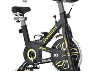PYHIGH Indoor Cycling Bike Stationary Exercise Bike  Comfortable Seat Cushion  Ipad Holder with lCD Monitor for Home Cardio Workout Bike S2