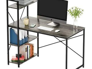 Bestier Computer Desk with Shelves 47 Inch  Reversible Writing Desk with Adjustable Storage Bookshelf Home Office Desk Study Table Work Desk with Shelves Office Bookshelf Corner Desk Easy Assemble