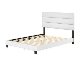 Rest Rite luna White Faux leather Upholstered Full Platform Bed Frame with Slat System DAMAGED