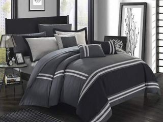 Chic Home Zarah 10 Piece Comforter Bedding Queen  Grey lOOKS USED may or may not be complete