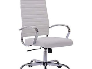 Sidanli White Computer Chair  Modern Desk Chair Conference Chairs with Faux leather