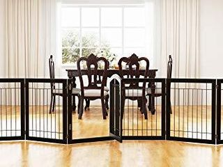 PAWlAND 144 inch Extra Wide 30 inches Tall Dog gate with Door Walk Through  Freestanding Wire Pet Gate for The House  Doorway  Stairs  Pet Puppy Safety Fence  Support Feet Included  Espresso 6 Panels