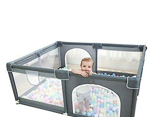 Baby Playpen  Extra large Playard for Toddlers  29  sq  Ft Play Area  Kids Safety Play Yard   Activity Center  large Ball Pit for Indoor   Outdoor  Portable Anti Fall Play Pen for Infants  Grey