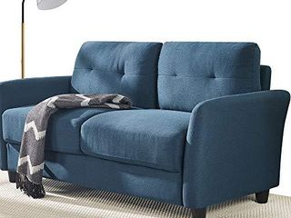 ZINUS Ricardo loveseat Sofa   Tufted Cushions   Easy  Tool Free Assembly  lyon Blue