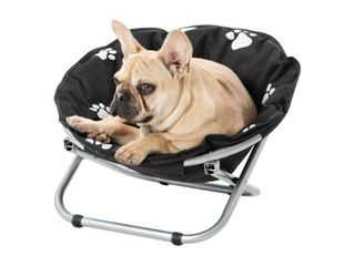 JEG  amp  SONS INC Etna Small Round Black and White Paw Print Folding Pet Cot