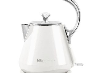 Elite Platinum 1 2l Cool Touch Stainless Steel Electric Kettle  White  EKT 1203W