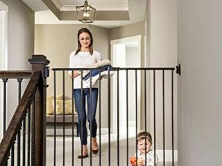 Regalo 2 in 1 Extra Tall Easy Swing Stairway and Hallway Walk Through Baby Gate  Black  1255 B DS