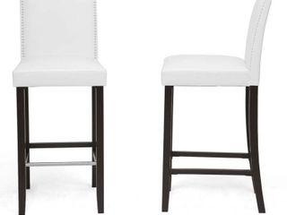 Baxton Studio libra White Faux leather Upholstered 2 Piece Bar Stool Set  White Black