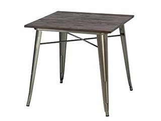 DHP Fusion Metal Square Dining Table with Wood Table Top  Distressed Metal Finish for Industrial Appeal  Antique Gun Metal