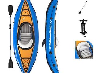 Bestway Hydro Force Cove Champion Inflatable Kayak Set   Includes Double Sided Paddle  Extra Storage  Grab Rope    Hand Pump   Convenient   Portable Kayak