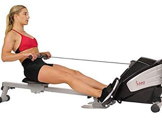 Sunny Health   Fitness Dual Function Magnetic Rowing Machine w  Digital Monitor  Multi Exercise Step Plates  275 lB Max Weight and Foldable   SF RW5622