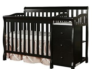 Dream On Me Jayden 4 in 1 Mini Convertible Crib And Changer in Black  Greenguard Gold Certified