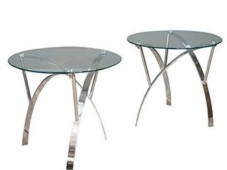 Christopher Knight Home 295401 Marin Round Glass End Tables  2 Pcs Set  Clear Tempered Glass