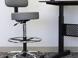 Boss Office Products Drafting Stool with Back Cushion  Grey