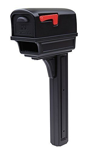 Gibraltar Mailboxes Gentry large Capacity Double Walled Plastic Black  All In One Mailbox   Post Combo Kit  GGC1B0000