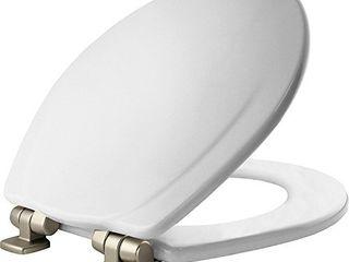 Mayfair 830NISl 000 Toilet Seat  1 Pack ROUND  White Brushed Nickel