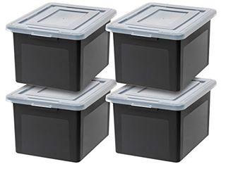 IRIS USA R FB 21E letter   legal Size File Box  Medium  Black  4 Pack DAMAGED