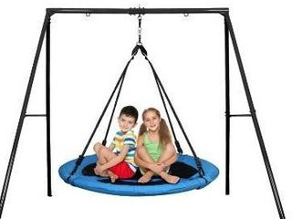 Trekassy 440lbs 40 Inch Saucer Tree Swing Set with Heavy Duty A Frame Metal Swing Stand DR0588C A08
