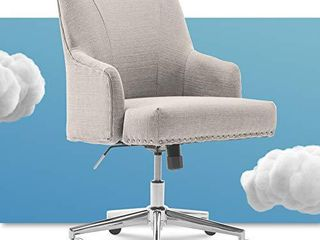 Serta leighton Home Office Chair with Memory Foam  Height Adjustable Desk Accent Chair with Chrome Finished Stainless Steel Base  Twill Fabric  light Gray