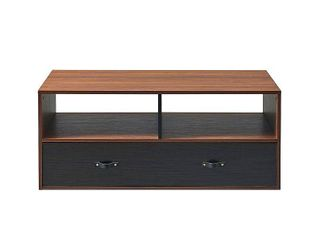 Henry Coffee Table with Faux leather Handle Walnut Black   Versanora