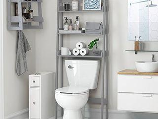UTEX 3 Shelf Bathroom Organizer Over The Toilet  Bathroom Spacesaver  Gray
