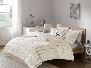 5pc Full Queen Arielle Printed Comforter Ivory Gold