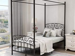 Canopy Bed with Sturday Metal Bed Frame No Box Spring Needed Mattress Foundation White Queen Size