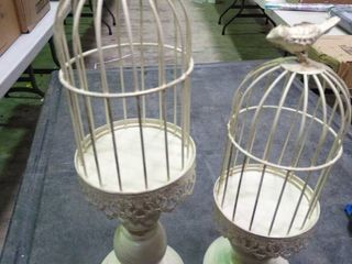 Pair of Small Cage with Birds Decor