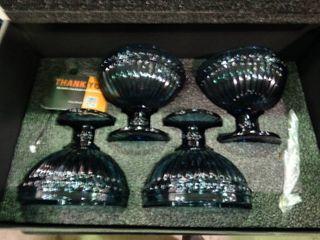 Set of 4 Decorative Blue Bowls
