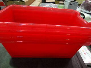 lot of 4 Red Plastic Storage Bins