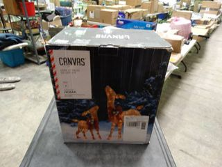 Canvas light Up Deer with Fawn