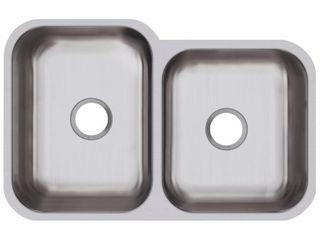 Elkay Avenue Undermount Stainless Steel 32 in  Offset Double Bowl Kitchen Sink  Silver