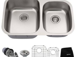 Kraus 32 inch Undermount 60 40 Double Bowl 16 gauge Stainless Steel Kitchen Sink