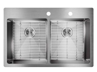 Elkay Crosstown Drop In Undermount Stainless Steel 33 in  2 Hole Double Bowl Kitchen Sink with Bottom Grids  Silver