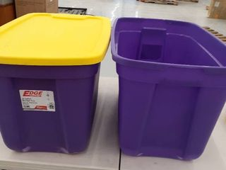 2  20gal Storage Totes purple ONlY ONE lID