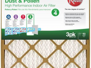 4  Rheem AC   Heating Filters 20 in  x 25 in  x 1 in  Basic Household Pleated FPR  3 Pack